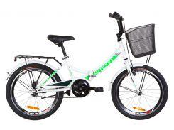 """Велосипед 20"""" Formula SMART 14G рама-13"""" St бело-зеленый с багажником зад St, с крылом St, с корзиной St 2019 (OPS-FR-20-037)"""
