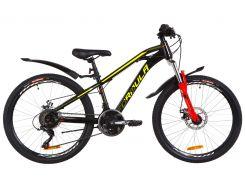 """Велосипед 24"""" Formula DAKAR AM 14G DD рама-13"""" St черно-красный с желтым с крылом Pl 2019 (OPS-FR-24-151)"""