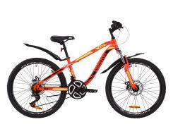 """Велосипед ST 24"""" Discovery FLINT AM DD рама-13"""" красно-черный с салатовым с крылом Pl 2020 (OPS-DIS-24-161)"""