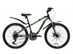 """Велосипед ST 24"""" Discovery FLINT AM DD рама-13"""" черно-зеленый с крылом Pl 2020 (OPS-DIS-24-159)"""