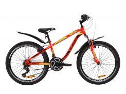 """Велосипед ST 24"""" Discovery FLINT AM Vbr рама-13"""" красно-черный с салатовым с крылом Pl 2020 (OPS-DIS-24-166)"""