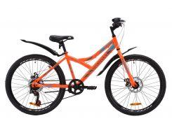 """Велосипед ST 24"""" Discovery FLINT DD рама-14"""" оранжево-бирюзовый с серым с крылом Pl 2020 (OPS-DIS-24-168)"""