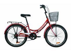 """Велосипед ST 24"""" Formula SMART Vbr трещотка рама-15"""" красный с багажником зад St, с крылом St, с корзиной St 2020 (OPS-FR-24-220)"""