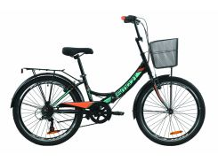"""Велосипед ST 24"""" Formula SMART Vbr трещотка рама-15"""" черно-оранжевый с бирюзовым (м) с багажником зад St, с крылом St, с корзиной St 2020 (OPS-FR-24-221)"""