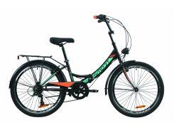 """Велосипед ST 24"""" Formula SMART Vbr трещотка рама-15"""" черно-оранжевый с бирюзовым (м) с багажником зад St, с крылом St, с фонарём 2020 (OPS-FR-24-226)"""