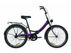 """Велосипед ST 24"""" Formula SMART Vbr рама-15"""" черно-фиолетовый с багажником зад St, с крылом St, с фонарём 2020 (OPS-FR-24-234)"""