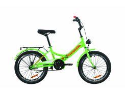"""Велосипед ST 20"""" Formula SMART Vbr рама-13"""" зелено-красный с белым с багажником зад St, с крылом St, с фонарём 2020 (OPS-FR-20-057)"""