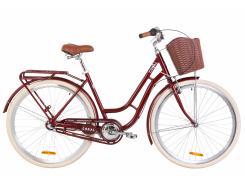 """Велосипед AL 28"""" Dorozhnik CORAL планет. рама-19"""" рубиновый с багажником зад St, с крылом St, с корзиной Pl 2020 (OPS-D-28-176)"""
