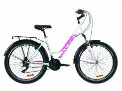 """Велосипед ST 26"""" Formula OMEGA AM Vbr рама-18"""" бело-розовый с голубым с багажником зад St, с крылом St 2020 (OPS-FR-26-420)"""