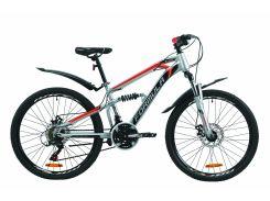 """Велосипед ST 24"""" Formula BLAZE AM2 DD рама-14"""" серо-черный с красным с крылом Pl 2020 (OPS-FR-24-201)"""