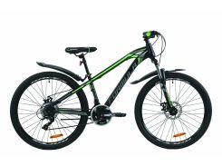 """Велосипед ST 26"""" Formula DAKAR AM DD рама-14"""" черно-серый с зеленым (м) с крылом Pl 2020 (OPS-FR-26-383)"""