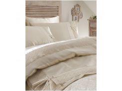 Набор постельное белье с покрывалом пике Karaca Home - Tugce bej 2018-2 бежевый евро