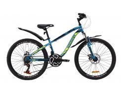 """Велосипед ST 24"""" Discovery FLINT AM DD рама-13"""" лазурно-желтый с черным с крылом Pl 2020 (OPS-DIS-24-158)"""