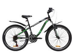 """Велосипед ST 24"""" Discovery FLINT AM Vbr рама-13"""" черно-зеленый с крылом Pl 2020 (OPS-DIS-24-164)"""