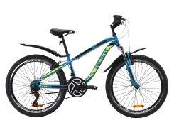 """Велосипед ST 24"""" Discovery FLINT AM Vbr рама-13"""" лазурно-желтый с черным с крылом Pl 2020 (OPS-DIS-24-163)"""