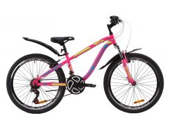 """Велосипед ST 24"""" Discovery FLINT AM Vbr рама-13"""" малиново-голубой с желтым с крылом Pl 2020 (OPS-DIS-24-162)"""