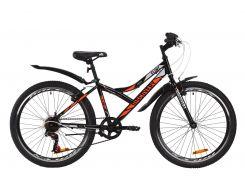 """Велосипед ST 24"""" Discovery FLINT Vbr рама-14"""" черно-оранжевый с серым с крылом Pl 2020 (OPS-DIS-24-180)"""