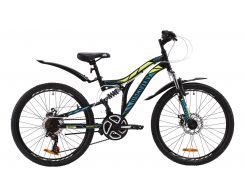 """Велосипед ST 24"""" Discovery ROCKET AM2 DD рама-15"""" черно-желтый с бирюзовым (м) с крылом Pl 2020 (OPS-DIS-24-185)"""