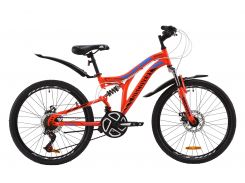 """Велосипед ST 24"""" Discovery ROCKET AM2 DD рама-15"""" красно-черный с синим с крылом Pl 2020 (OPS-DIS-24-184)"""