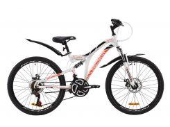 """Велосипед ST 24"""" Discovery ROCKET AM2 DD рама-15"""" бело-оранжевый c черным с крылом Pl 2020 (OPS-DIS-24-182)"""