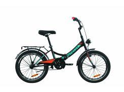 """Велосипед ST 20"""" Formula SMART Vbr рама-13"""" черно-оранжевый с бирюзовым (м) с багажником зад St, с крылом St, с фонарём 2020 (OPS-FR-20-060)"""