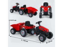 Трактор педальный с прицепом 07-316 RED (1) клаксон на руле, сидение регулируемое, задние колеса с резиновыми накладками, в коробке