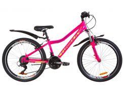 """Велосипед 24"""" Formula FOREST AM 14G Vbr рама-12,5"""" St малиновый с салатным с крылом Pl 2019 (OPS-FR-24-162)"""