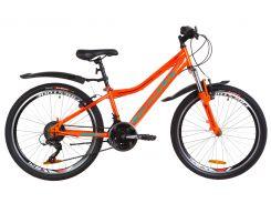 """Велосипед 24"""" Formula FOREST AM 14G Vbr рама-12,5"""" St оранжево-бирюзовый с крылом Pl 2019 (OPS-FR-24-147)"""