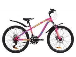 """Велосипед ST 24"""" Discovery FLINT AM DD рама-13"""" малиново-голубой с желтым с крылом Pl 2020 (OPS-DIS-24-157)"""