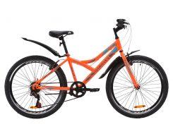 """Велосипед ST 24"""" Discovery FLINT Vbr рама-14"""" оранжево-бирюзовый с серым с крылом Pl 2020 (OPS-DIS-24-178)"""