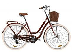 """Велосипед AL 28"""" Dorozhnik CORAL рама-19"""" рубиновый с багажником зад St, с крылом St, с корзиной Pl 2020 (OPS-D-28-180)"""