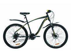 """Велосипед ST 26"""" Formula KOZAK AM DD рама-17,5"""" черно-серый с желтым (м) с крылом Pl 2020 (OPS-FR-26-411)"""