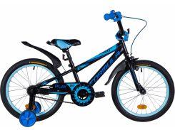 """Велосипед ST 18"""" Formula SPORT рама-9,5"""" черно-синий с голубым (м) с крылом Pl 2020 (OPS-FRK-18-059)"""