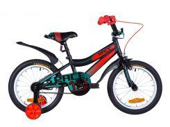 """Велосипед ST 16"""" Formula RACE рама-9"""" черно-оранжевый с бирюзовым (м) с крылом Pl 2020 (OPS-FRK-16-107)"""