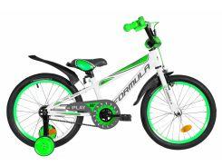 """Велосипед ST 18"""" Formula SPORT рама-9,5"""" бело-зеленый с серым с крылом Pl 2020 (OPS-FRK-18-057)"""