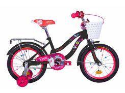 "Велосипед ST 16"" Formula FLOWER рама-10"" черный с розовым с багажником зад St, с крылом St 2020 (OPS-FRK-16-112)"