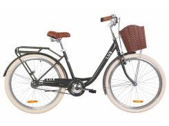 """Велосипед ST 26"""" Dorozhnik LUX рама-17"""" антрацитовый (м) с багажником зад St, с крылом St, с корзиной Pl 2020 (OPS-D-26-097)"""