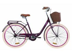 """Велосипед ST 26"""" Dorozhnik LUX рама-17"""" сливовый (м) с багажником зад St, с крылом St, с корзиной Pl 2020 (OPS-D-26-094)"""