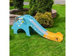Детская горка DINO-4, Динозавр, мятно-желтая