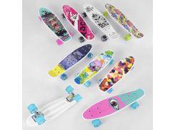 Скейт Пенни борд S 29661 (8) Best Board, 6 видов, ВЫДАЁТСЯ ТОЛЬКО МИКС ВИДОВ колёса PU, СВЕТЯТСЯ, d=4.5 см, доска=55 см (67927)