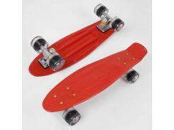 Скейт Пенни борд 8181 (8) Best Board, КРАСНЫЙ, доска=55см, колёса PU со светом, диаметр 6см (99981)