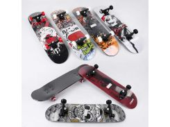Скейт С 32030 (6) 6 видов, колеса PU d= 5,5 cм, дерево, подшипники ABEC-9, подвеска - алюминий - Скейты (75090)