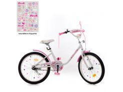 Детский велосипед PROFI 20д. Y2085 Flower, бело-розовый
