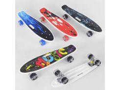 Скейт Пенни борд С 70822 (8) Best Board, ВЫДАЁТСЯ ТОЛЬКО МИКС ВИДОВ, 4 вида, дека с ручкой, подшипники ABEC-7, колеса СВЕТЯЩИЕСЯ PU d=6см (79924)