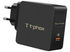 Сетевое зарядное устройство T-PHOX 48W Fast Charge-TYPE-C PD 30W+QC3.0 18W (Black) (Apace Wall 48W (B))