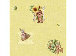 Обои бумажные влагостойкие Домовенок желтый 2130