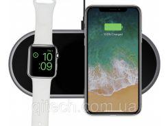 Беспроводная зарядка Qitech Premium Mini AirPower для Apple iPhone и Apple Watch (MAir-bk)