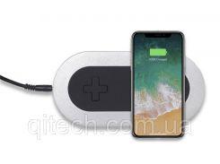 Беспроводная зарядка на два смартфона Qitech Double Pad   индукционная зарядка   цвет серебристый