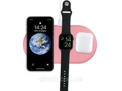 Зарядное устройство Qitech AirPower 3 в 1 Gen 2 для Apple Watch с технологией QI Fast Charge цвет розовый