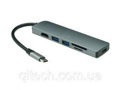 USB-хаб кабель Qitech Aluminum Type-C + Type-A + HDMI 4K + MicroSD + SD Space Gray (QT-Hub2c)